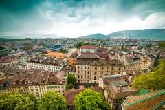 日内瓦老城镇 免版税库存图片