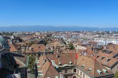 日内瓦,城市的看法从高度的 免版税库存照片