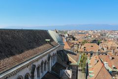 日内瓦,城市的看法从高度的 免版税库存图片