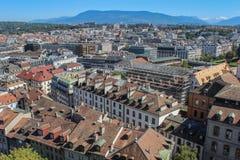 日内瓦,城市的看法从高度的 图库摄影