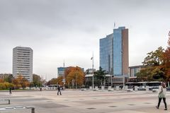 日内瓦,瑞士- 2015年10月30日:企业大厦在市日内瓦 免版税图库摄影