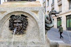 日内瓦,瑞士- 2017年10月26日:喷泉叫Escalade 库存图片