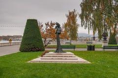 日内瓦,瑞士- 2015年10月30日:奥地利,日内瓦的女皇Elisabeth的纪念碑 免版税库存图片