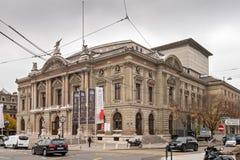 日内瓦,瑞士- 2015年10月30日:街道在市老镇日内瓦 免版税图库摄影