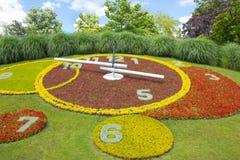 日内瓦,瑞士- 2016年6月17日:花时钟在公园 免版税库存图片