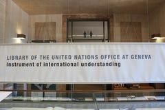 日内瓦,瑞士- 9月15 -联合国图书馆  图库摄影