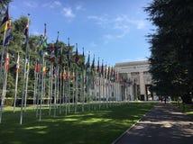 日内瓦, 2018年6月19日-万国宫,联合国欧洲人总部设 库存照片