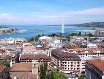 日内瓦, Leman湖和喷水 库存照片
