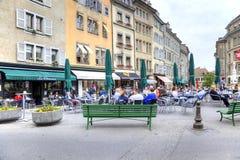 日内瓦 夏天咖啡馆 免版税库存照片