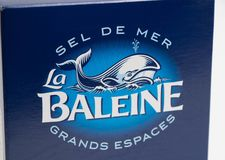 日内瓦/瑞士16 07 18 :海盐箱子la baleine法国 库存图片