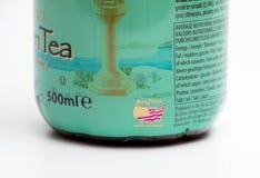 日内瓦/瑞士16 07 18 :瓶亚利桑那绿茶冰茶用蜂蜜 免版税图库摄影