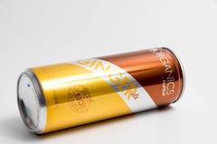 日内瓦/瑞士- 15 07 18 :红色公牛姜汁无酒精饮料有机饮料 免版税库存照片