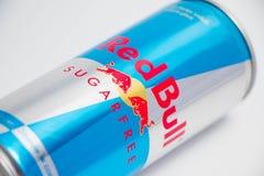 日内瓦/瑞士16 07 18 :红色公牛糖热力势饮料 免版税库存图片