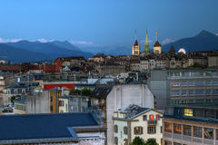 日内瓦hdr地平线瑞士 库存图片