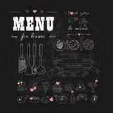 日凹道愉快的例证s华伦泰 恋人的菜单 与心脏的食物 乱画装饰元素 拉长的现有量 黑板 库存图片