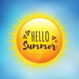 日出与印刷术你好夏天 免版税库存照片