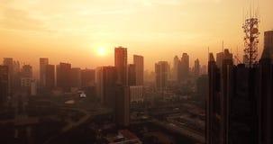 日出俯视图在雅加达市 股票视频