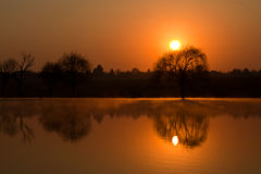 日出冬天 库存图片