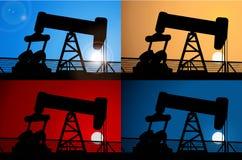 日出和抽油装置背景 免版税库存照片