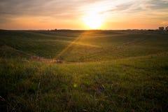 日出在内布拉斯加Sandhills 免版税库存图片