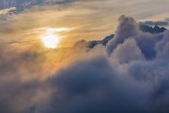 日出在勃朗峰,法国 图库摄影