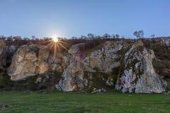日出在多布罗加峡谷,罗马尼亚 库存图片
