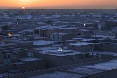 日出在市Khiva,乌兹别克斯坦 免版税图库摄影