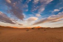日出在撒哈拉大沙漠 库存图片