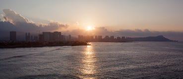 日出在檀香山 库存图片