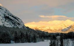 日出在海姆瑟达尔,挪威 免版税库存照片