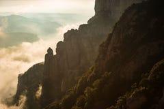 日出在蒙特塞拉特,巴塞罗那-西班牙 免版税库存图片