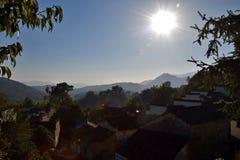 日出在西迪,一个小古老村庄在安徽在黄色山附近的中国 库存照片