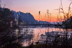 日出在11月,波黑 免版税库存照片