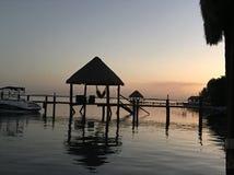 日出在Bacalar 免版税图库摄影