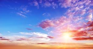 日出夏天天空全景 免版税库存图片