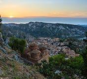 日出斯蒂洛村庄,卡拉布里亚,意大利 库存图片