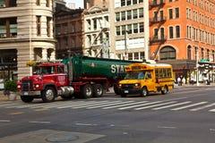 日出早期街市的曼哈顿 库存照片