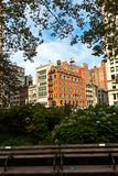 日出早期街市的曼哈顿 免版税库存图片