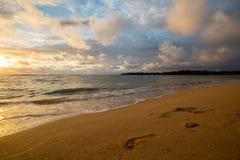 日出海滩漫步 免版税库存照片