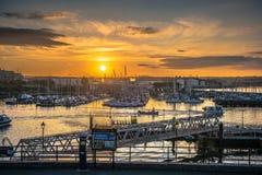 日出游艇和渔船 图库摄影