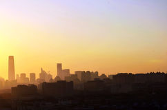 日出的北京 免版税库存照片