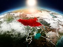 日出的南苏丹从轨道 库存照片