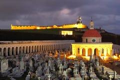 日出的圣费利佩del Morro和圣玛丽亚 免版税库存照片