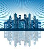 日出的城市 免版税库存图片