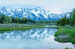 日出的大蒂顿国家公园 免版税库存图片