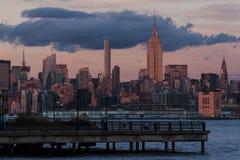 日出的曼哈顿中城 免版税库存图片