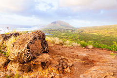 日出的河谷在Makapuu点,夏威夷 库存图片