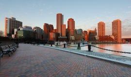 日出的波士顿财政区 免版税库存图片