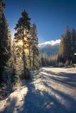 日出的看法在Tatra山的 库存图片