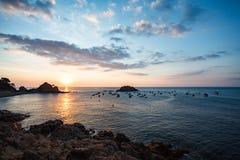日出的看法从峭壁的在Tossa Del Mar 图库摄影